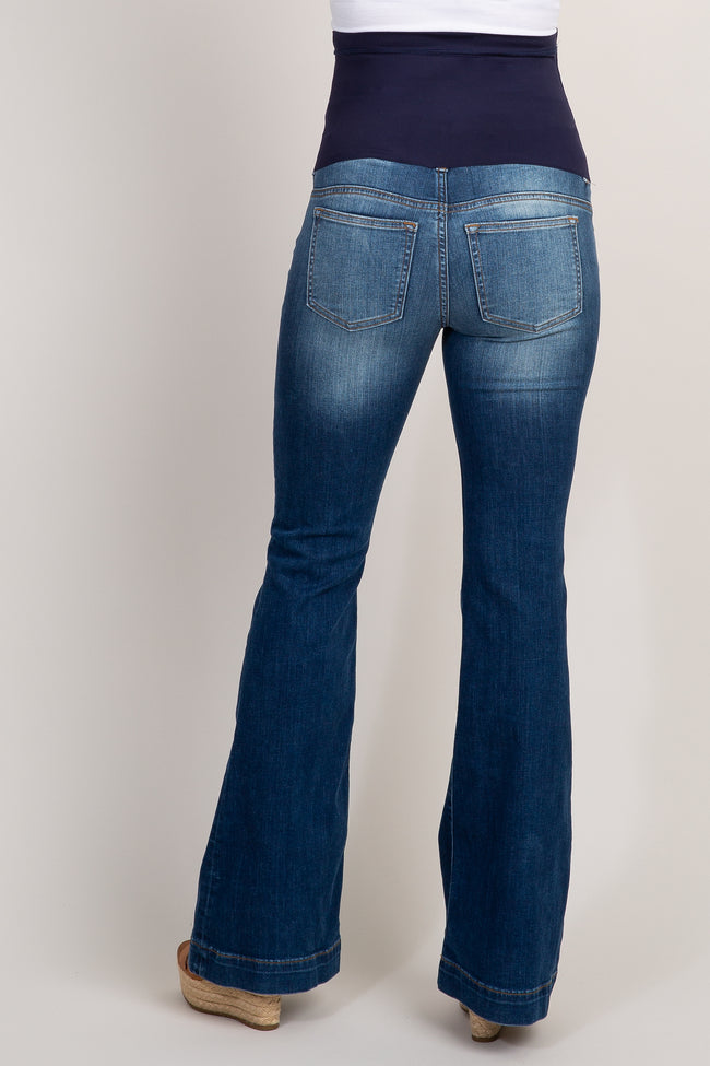 Navy Blue Maternity Flare Jeans