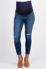 Navy Blue Side Slit Frayed Hem Maternity Crop Jeans