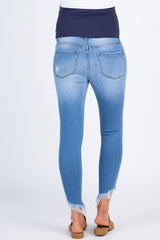 Light Blue Faded Distressed Raw Hem Maternity Jeans