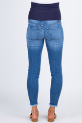 Blue Distressed Raw Hem Maternity Jeans