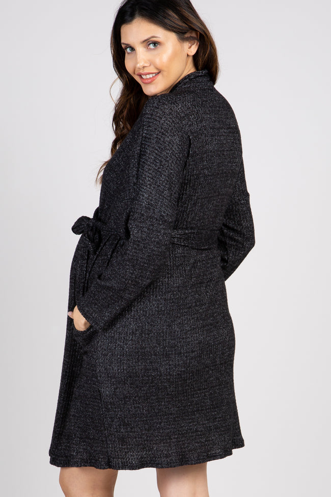 PinkBlush Black Waffle Knit Delivery/Nursing Maternity Robe