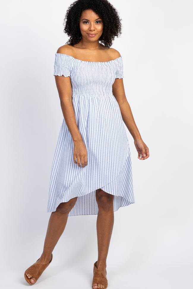 Blue Striped Smocked Off Shoulder Hi-Low  Dress