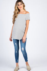 Blue Ripped Denim Maternity Skinny Jeans