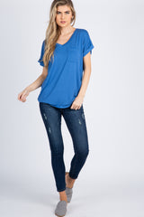 Denim V-Neck Pocket Accent Top