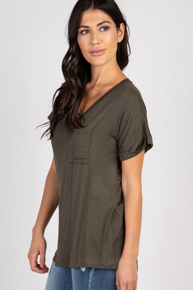 Olive V-Neck Pocket Accent Maternity Top