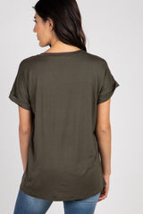 Olive V-Neck Pocket Accent Top