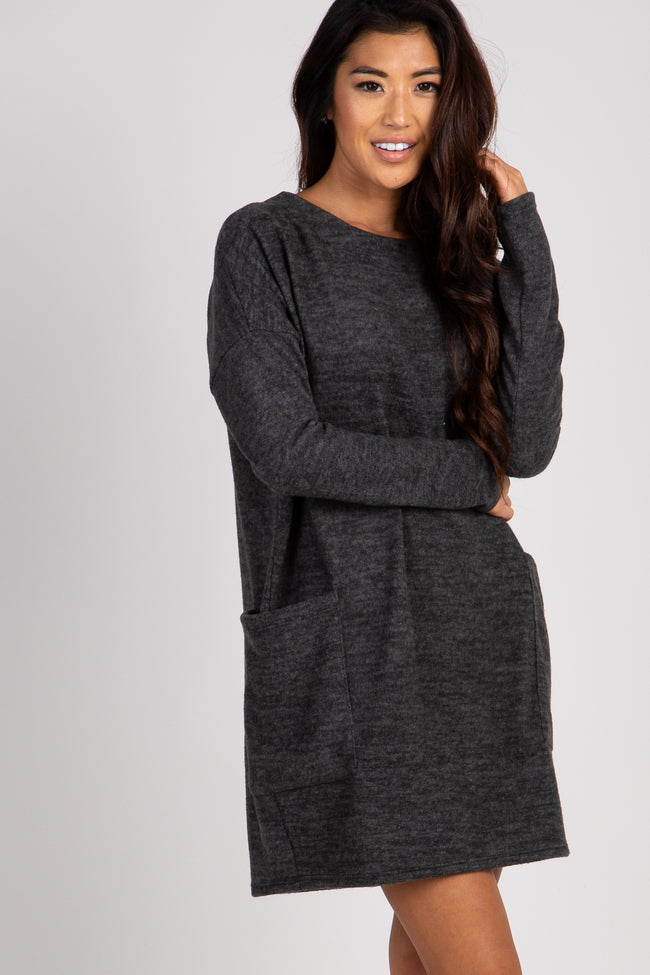Charcoal Soft Long Sleeve Dress