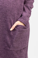 Purple Soft Long Sleeve Maternity Dress