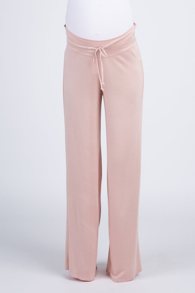Pink Solid Drawstring Maternity Lounge Pants