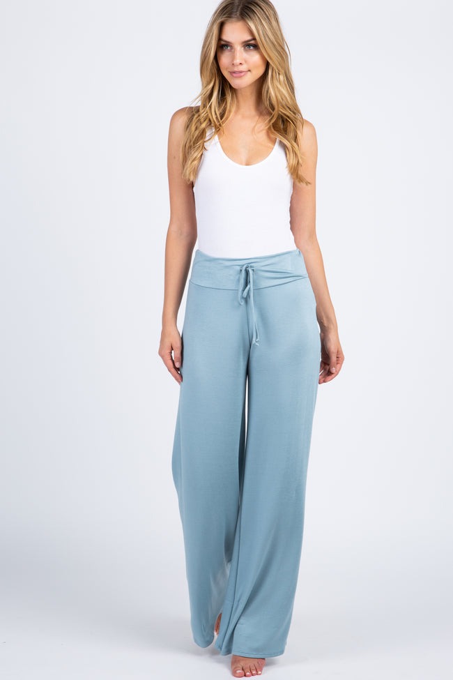 Blue Solid Drawstring Maternity Lounge Pants