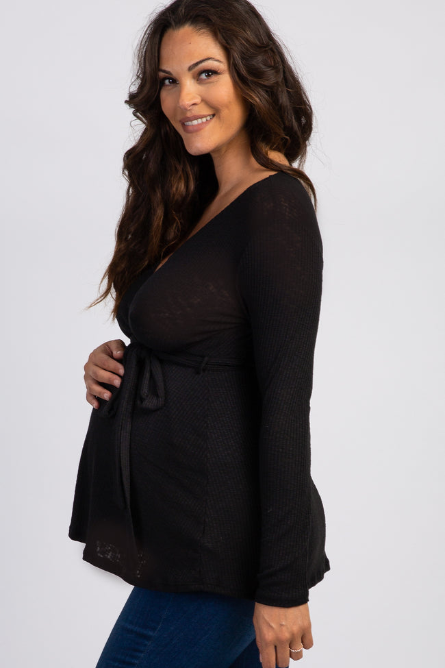 PinkBlush Black Ribbed Sash Tie Maternity Nursing Wrap Top