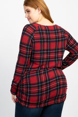 Red Plaid Long Sleeve Ruched Plus Top