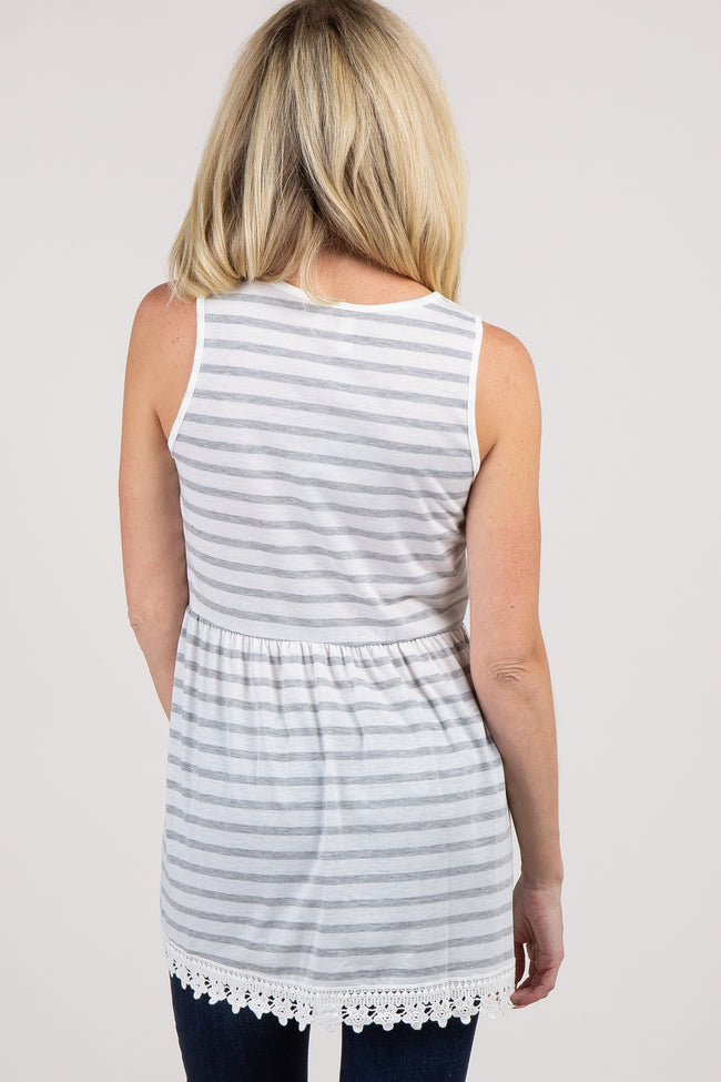 Heather Grey Striped Peplum Tunic