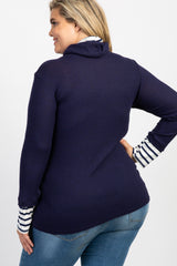 Navy Striped Cowl Neck Knit Maternity Plus Top