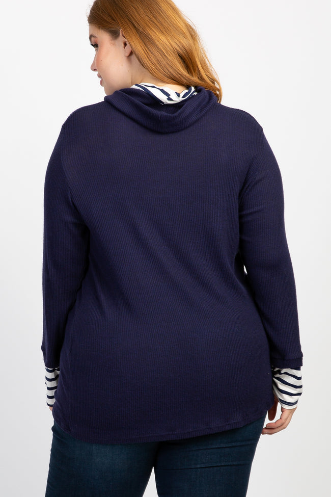 Navy Striped Cowl Neck Knit Plus Top