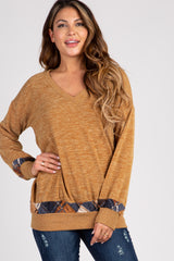Mustard Knit Accent Maternity Knit Top