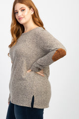 Mocha Button Back Quilted Elbow Knit Plus Top