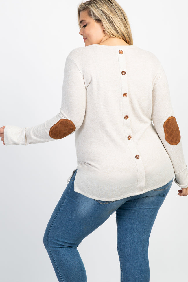 Beige Button Back Quilted Elbow Knit Maternity Plus Top