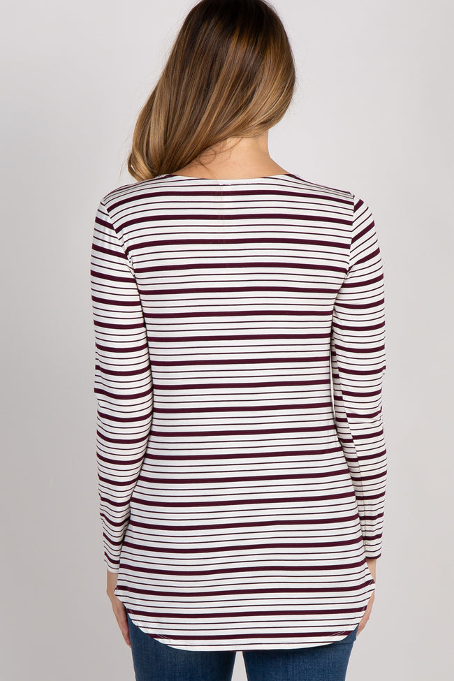 Burgundy Striped 3/4 Sleeve Lace Up Maternity Top
