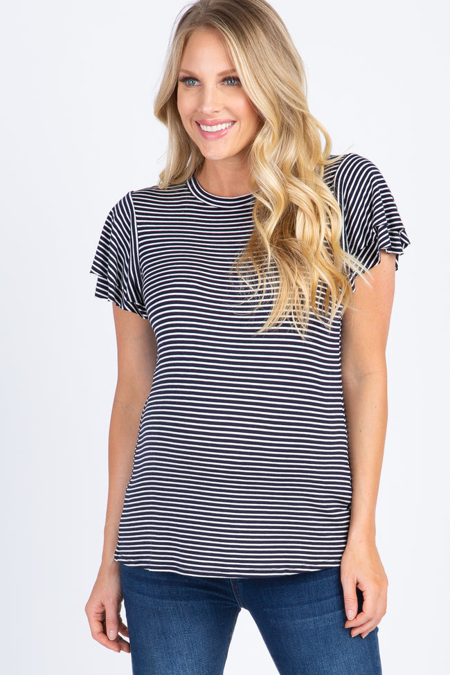 Navy Blue Striped Ruffle Sleeve Maternity Top