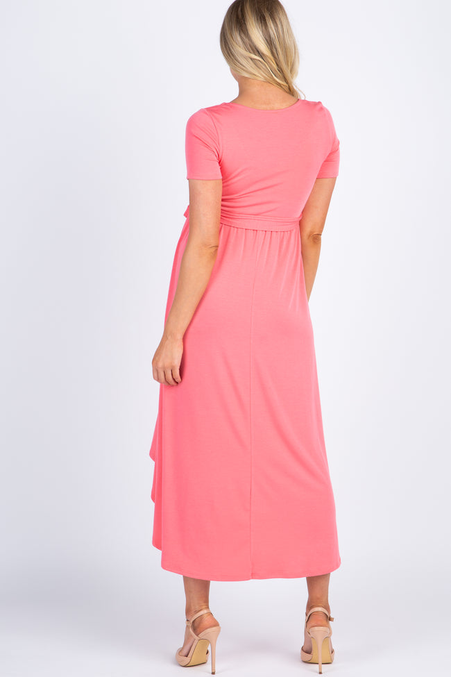 PinkBlush Coral Solid Hi-Low Maternity Wrap Dress