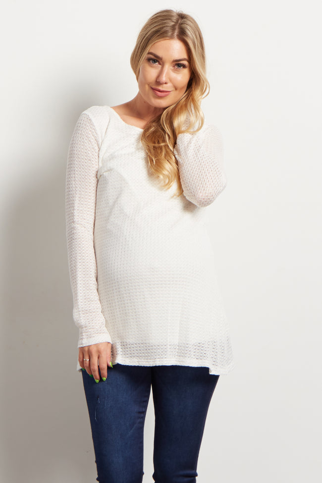 Ivory Knit Long Sleeve Maternity Tunic