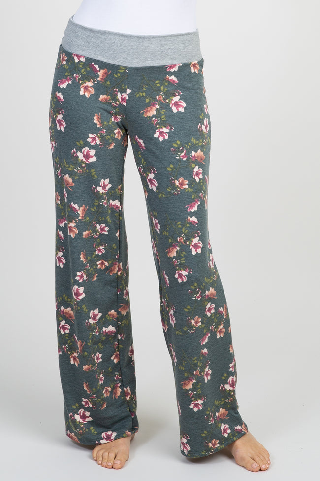 Charcoal Grey Floral Lounge Pants