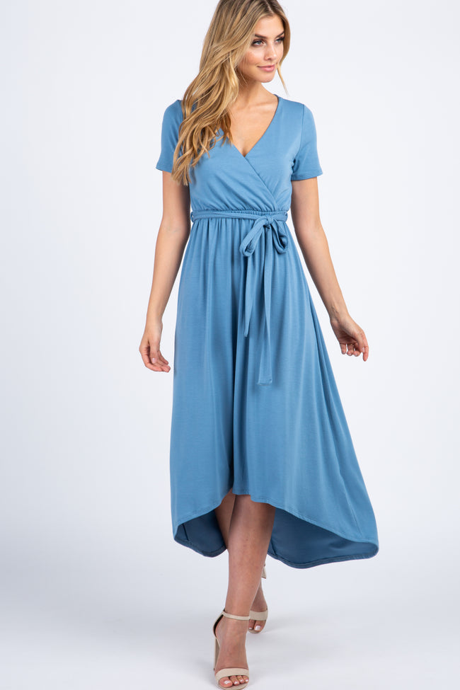 PinkBlush Light Blue Solid Hi-Low Wrap Dress