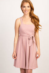 Mauve Solid Sleeveless Square Neckline Maternity Dress