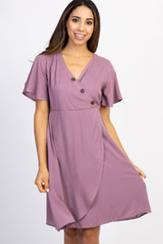 Mauve Button Accent Wrap Dress
