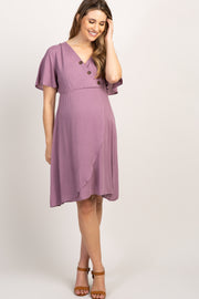 Mauve Button Accent Maternity Wrap Dress