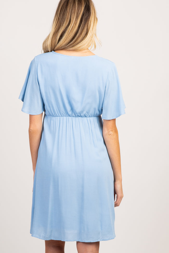 PinkBlush Light Blue Button Accent Maternity Wrap Dress