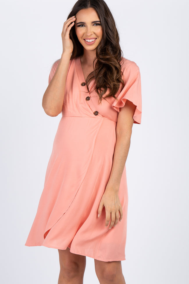 PinkBlush Coral Button Accent Maternity Wrap Dress