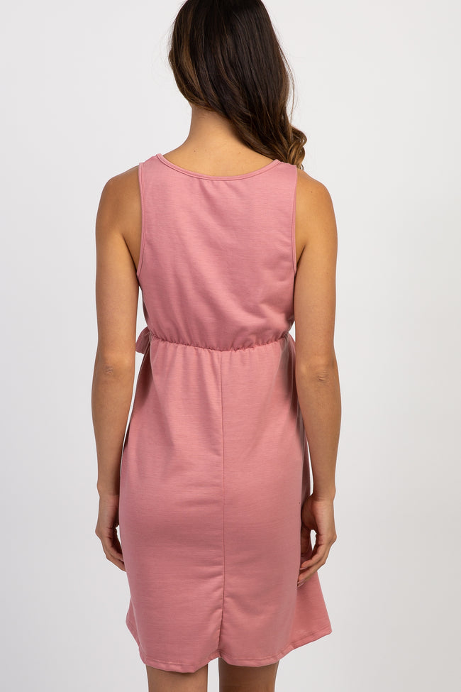 Mauve Solid Sleeveless Tie Maternity Dress