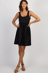 Black Pinstriped Pleated Maternity Dress