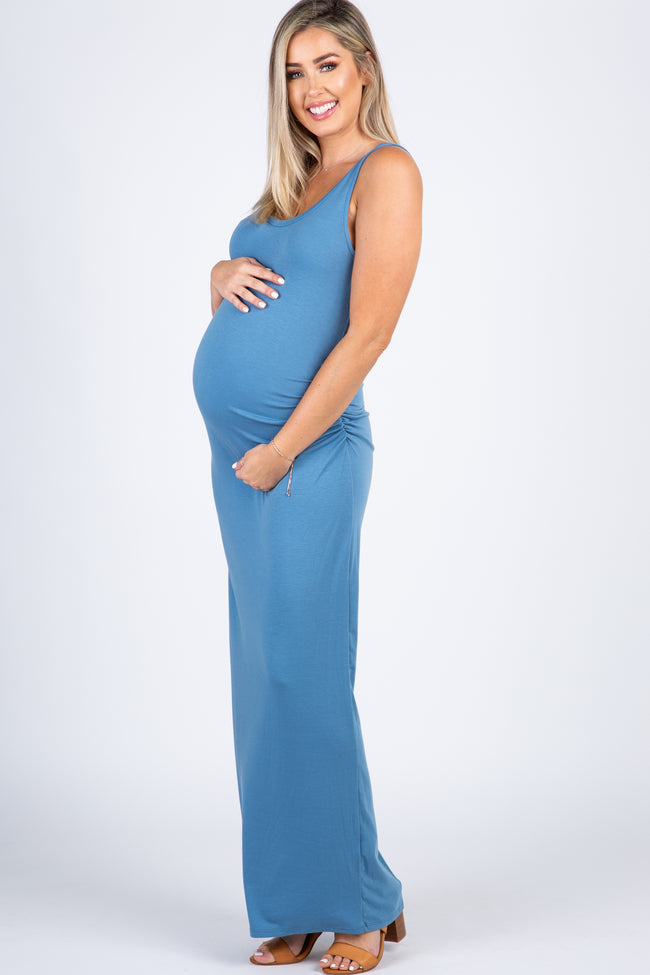Light Blue Solid Sleeveless Fitted Maternity Maxi Dress