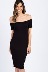 Black Lettuce Edge Trim Off Shoulder Maternity Dress