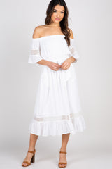 White Off The Shoulder Midi Maternity Dress