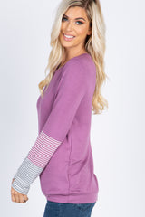 Violet Striped Colorblock Long Sleeve Top