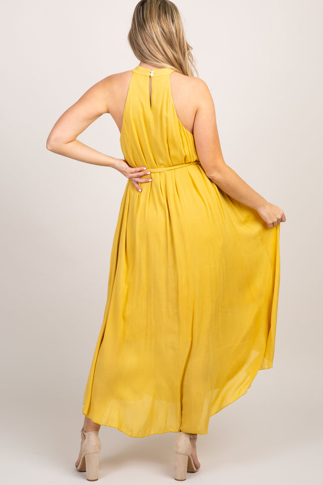 Mustard Halter Neck Waist Tie Maternity Maxi Dress