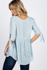Light Blue Solid 3/4 Sleeve Knot Tie Top