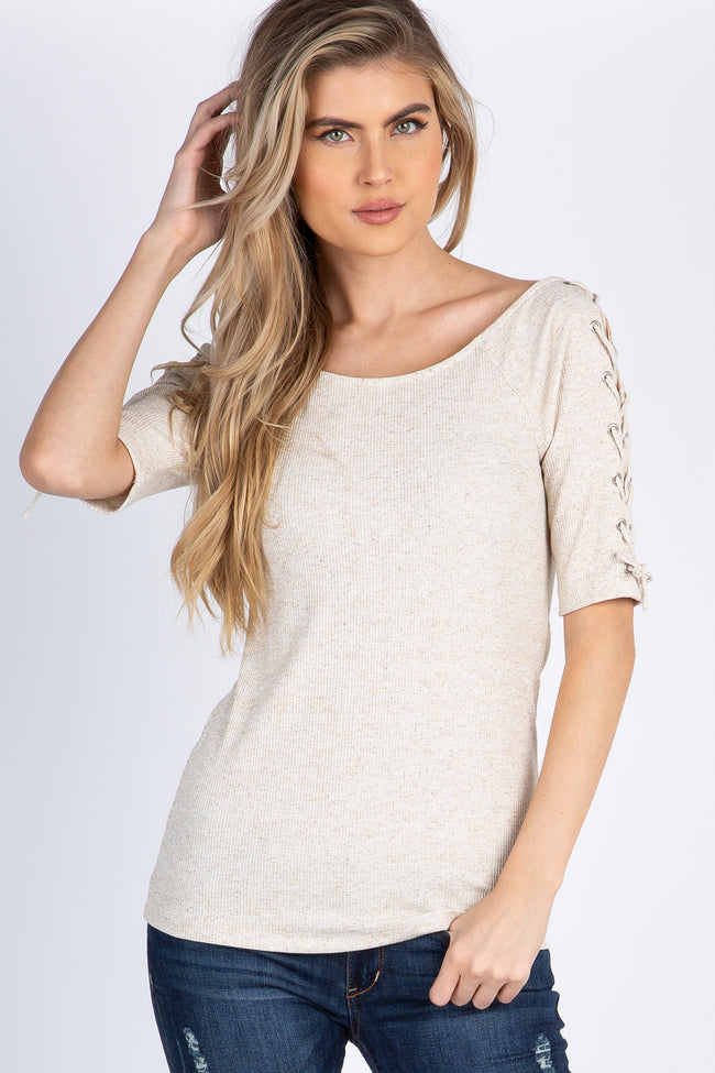 Beige Lace Up Sleeve Top