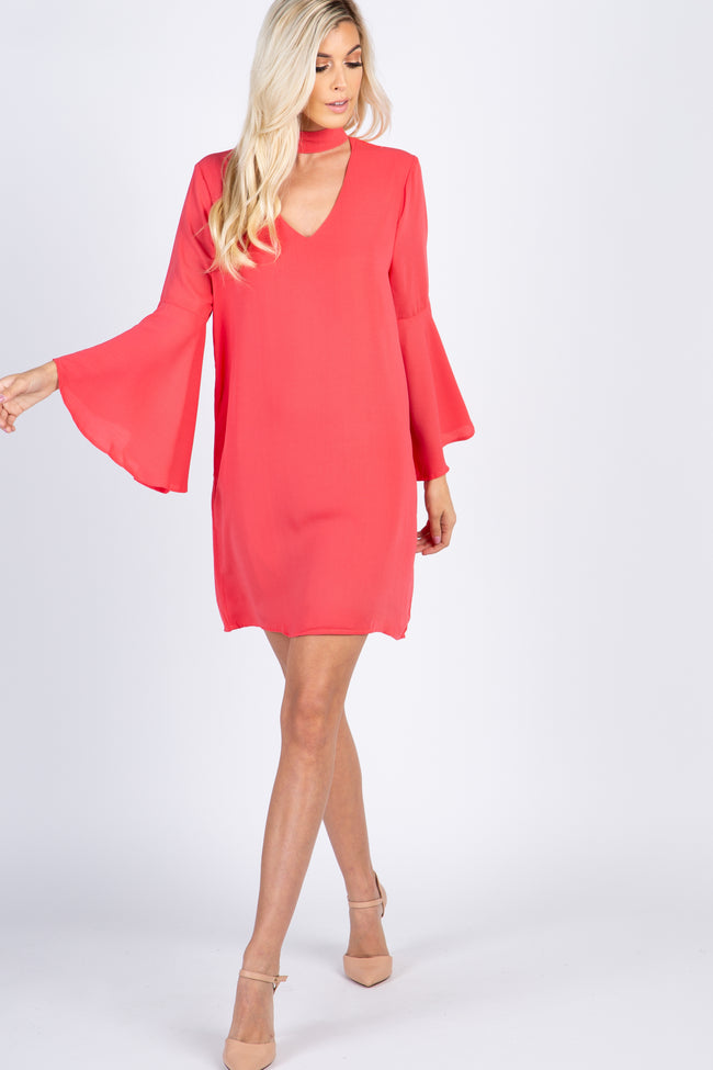 Coral Solid Mock Neck Ruffle Sleeve Dress