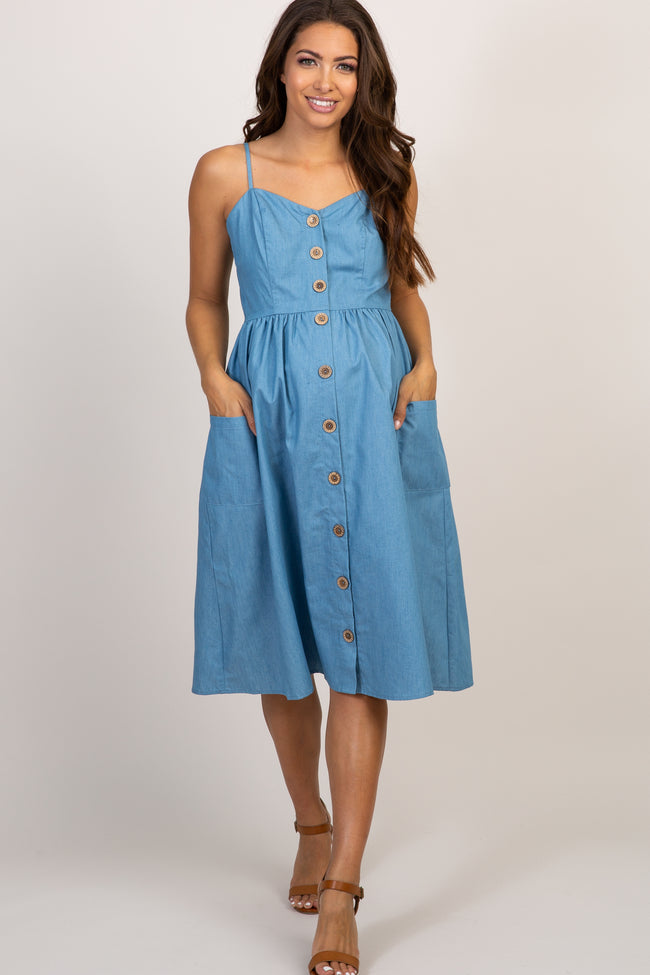 Blue Sweetheart Button Front Maternity Dress