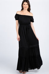 Black Solid Off Shoulder Ruffle Sleeve Maxi Dress