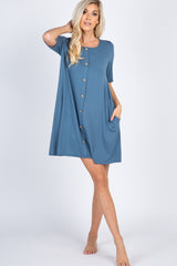 Blue Button Detail Maternity Sleep Dress