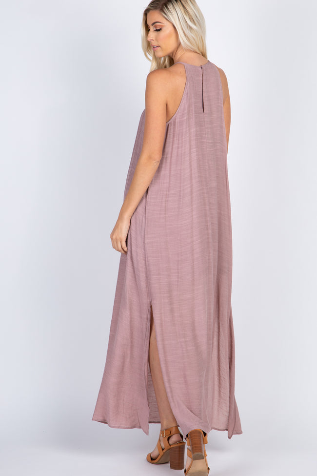 Mauve Crochet Accent Side Slit Halter Neck Maxi Dress