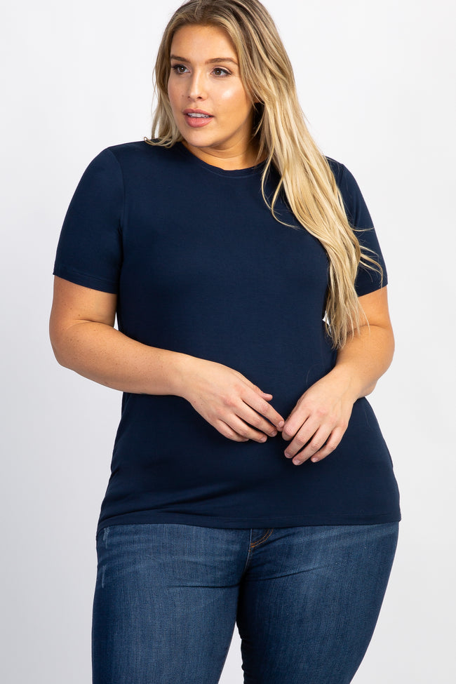Navy Blue Solid Short Sleeve Plus Top
