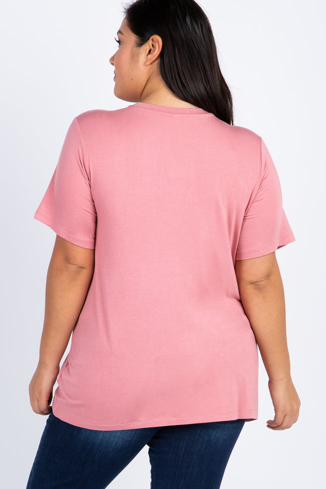 Salmon Solid Short Sleeve Maternity Plus Top