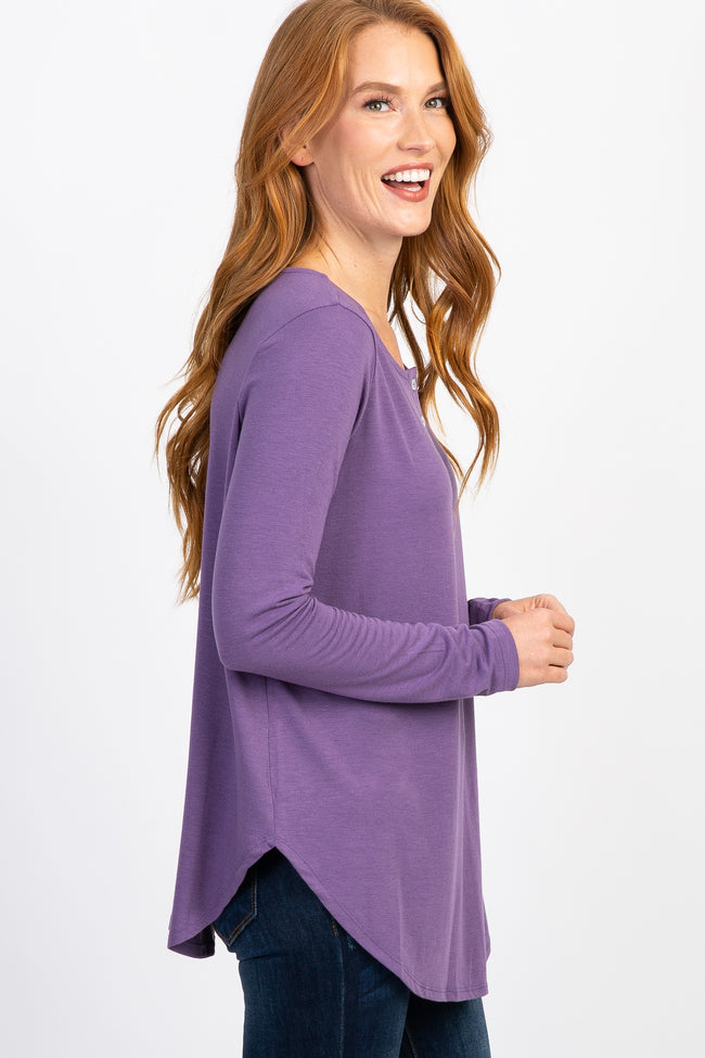 Lavender Long Sleeve Front Button Top